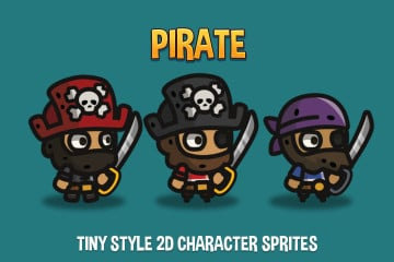 Pirate Tiny Style 2D Character Sprites