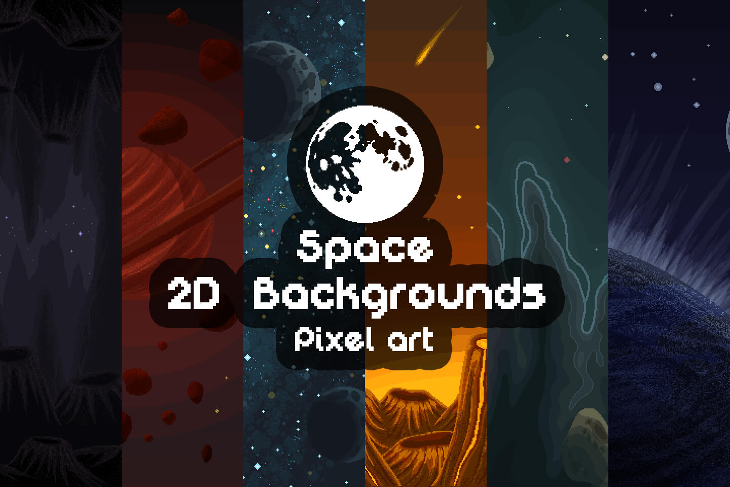 Pixel Art Space 2D Game Backgrounds