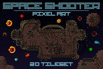 Pixel Art Space Shooter 2D Tileset