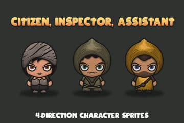 Citizen, Inspector, Assistant 4-Direction Character Sprites