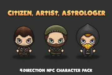 Free Citizen, Artist, Astrologer 4-Direction NPC Character Pack