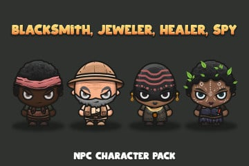 NPC Character Pack: Blacksmith, Jeweller, Healer, Spy