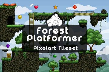 Pixel Art Forest Platformer Tileset