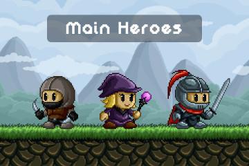 Pixel Art Fantasy Game Main Heroes