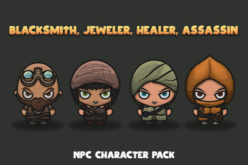 Blacksmith, Jeweller, Healer, Assassin NPC Character Pack