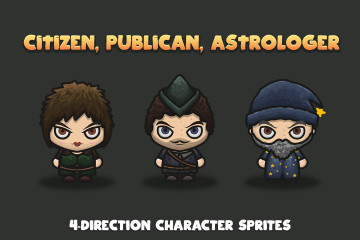 Citizen, Publican, Astrologer 4-Direction Character Sprites