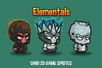 Elemental Chibi 2D Game Sprites