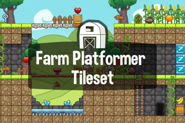 Farm Platformer Level Game Tileset