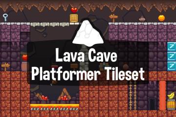 Lava Cave Platformer Level Tileset