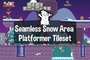 Seamless Snow Area Platformer 2D Tileset
