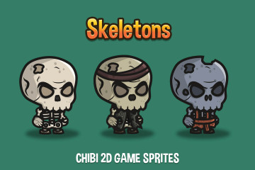 Skeleton Chibi 2D Game Sprites