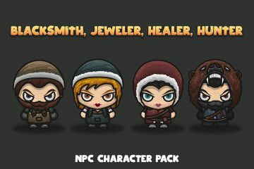 Blacksmith, Jeweler, Healer, Hunter NPC Characters