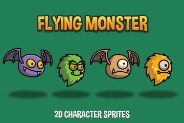 Flying Monster 2D Character Sprites