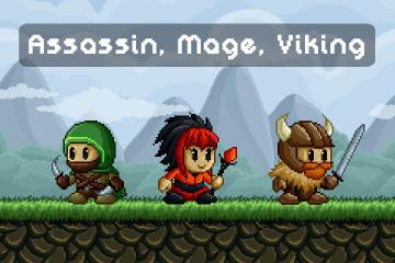 Assassin, Mage, Viking Free Pixel Art Game Heroes