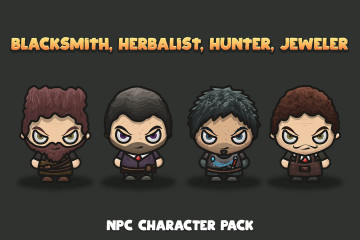 Blacksmith, Herbalist, Hunter, Jeweler Free NPC Character Pack
