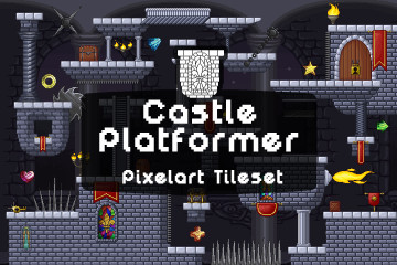 Castle Platformer Pixel Art Tileset