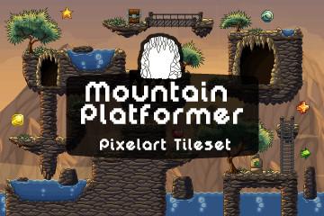 Mountain Platformer Pixel Art Tileset