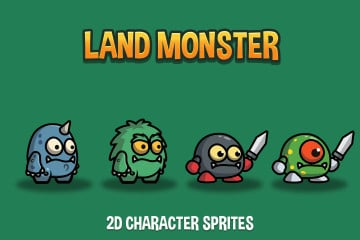 Land Monster 2D Character Sprites