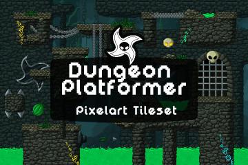 Dungeon Platformer Pixel Art Tileset