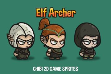 Elf Archer Chibi Game Sprites