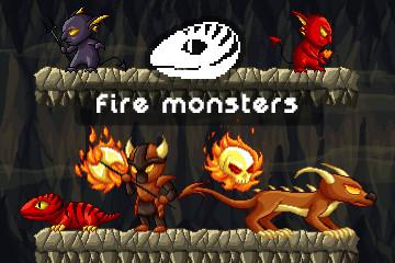Fire Monster Game Sprites Pixel Art