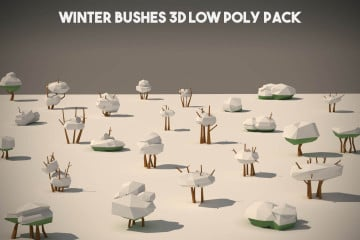Free Winter Bushes 3D Low Poly Models