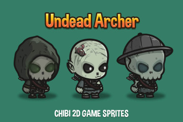 Undead Archer Chibi Game Character Sprites