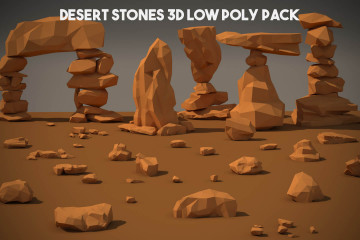 Desert Stone 3D Low Poly Models