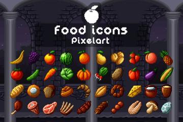Food Icons Pixel Art