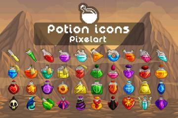 Potion Icons Pixel Art