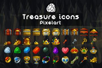 Treasure Icons Pixel Art