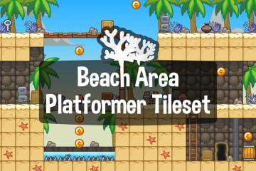 Beach Area Platformer 2D Tileset
