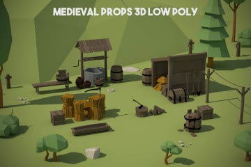 Free Medieval Props 3D Low Poly Pack