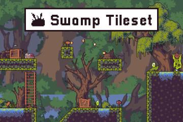 Free Swamp Game Tileset Pixel Art
