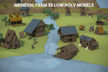 Medieval Farm 3D Low Poly Models
