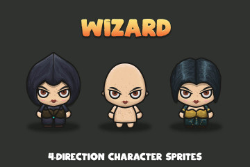 Wizard 4-Direction Woman Character Sprites