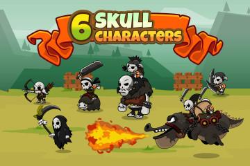 6 Skull Game Character Sprites Pack
