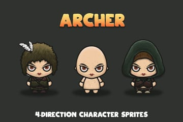 Archer 4-Direction Woman Character Sprites