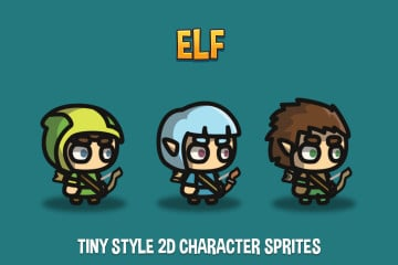 Elf Tiny Style 2D Character Sprites