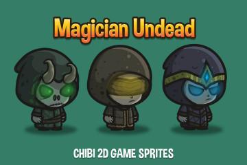 Magician Undead Chibi 2D Game Sprites