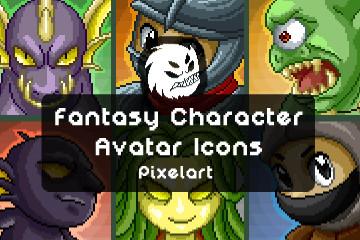 Free Fantasy Character Avatar Icons Pixel Art