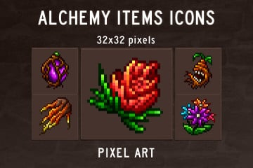 Alchemy Items Pixel Art Icons