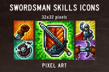 Free Swordsman Skills Pixel Art Icons