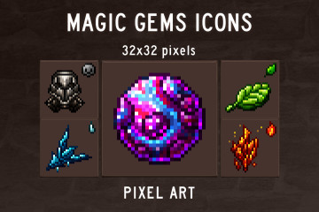 Magic Gems Pixel Art Icons