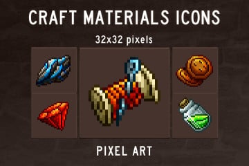 RPG Crafting Material Icons Pixel Art