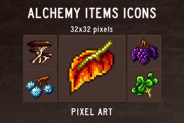 Alchemy Herbs Icons Pixel Art