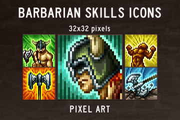 Barbarian Skills Pixel Art Icon Pack
