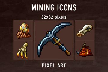 Mining Icons Pixel Art Pack
