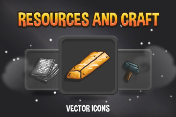 Resources and Craft Vector Game Icons