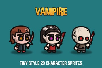 Vampire Tiny Style 2D Character Sprites